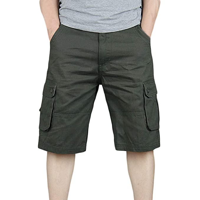 580aacb2c6 MODOQO Relaxed Fit Lightweight Multi Pocket Casual Straight Twill Cargo  Shorts for Men(Army Green