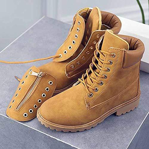 Impermeables Plates Rangers Femme De Binggong Cuir Hiver Chaussures Et Neige Botte Jaune Chaudes Bottes Cheville Laçage Revers Classiques Bottines Fourrées BqwZdT4