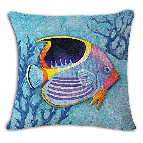 oFloral Tropical Fish Pillow Cover Cotton Linen Square Sea Home Sofa Decorative Throw Pillow Case Cushion Cover 18