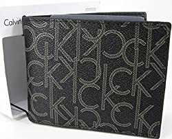 Calvin Klein CK Logo Mens Wallet Billfold Bifold Genuine Leather Black Boxed