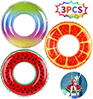 FiGoal 3 Pack Inflatable Pool Float with Watermelon Orange and Glitter Rainbow Swimming Pool Ring Funny Pool T