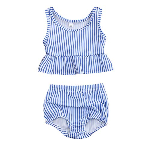 YOUNGER TREE Toddler Baby Girls Summer Swimsuit Sleeveless Striped Swimsuit Two-Piece Suit (Blue,3-4T)