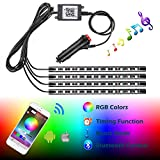 RGB LED Interior Underdash Lights, Ampper LED Atmosphere Neon Strip Glow Lighting Kits with Bluetooth Controller, Music Mode and Timer Function (4 Pcs, 48 LEDs)