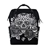 Diaper Bags Backpack Mummy Backpack with Black White Rose Skull Travel Laptop Daypack