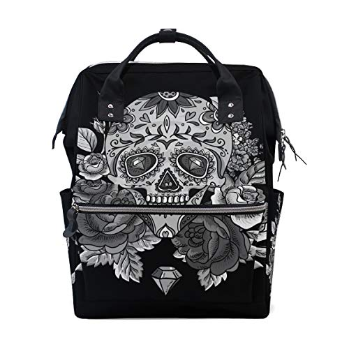 Diaper Bags Backpack Mummy Backpack with Black White Rose Skull Travel Laptop Daypack by THENAGD