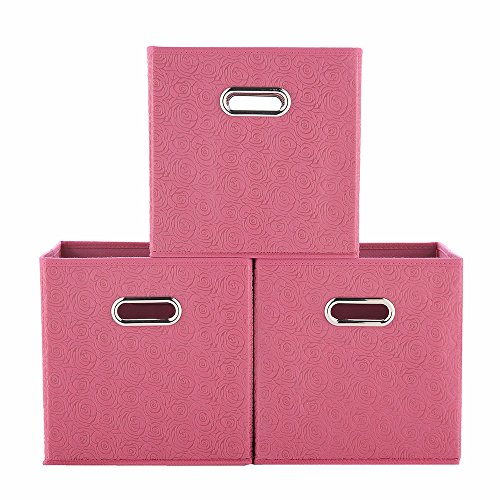 VCCUCINE Foldable Cloth Basket Organizer Containers Cube Storage Bins, Collapsible Fabric Storage Drawers Bin with Dual Mental Handles for Home, Nursery, Office or Closets, Pink, 3 Packs by VCCUCINE