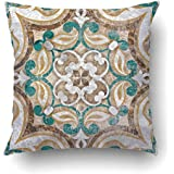 Emvency Decorative Throw Pillow Cover Case for Bedroom Couch Sofa Home Decor Vintage Italian Tile with Moroccan Pattern Square 20x20 Inches Moroccan