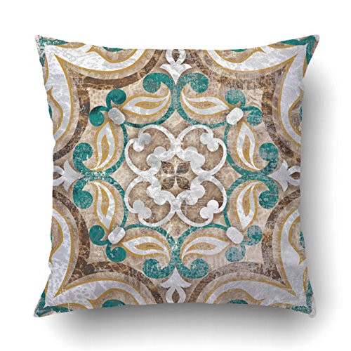 Couch Italian Brown (Emvency Decorative Throw Pillow Cover Case for Bedroom Couch Sofa Home Decor Vintage Italian tile with Moroccan pattern Square 18x18 Inches Moroccan)