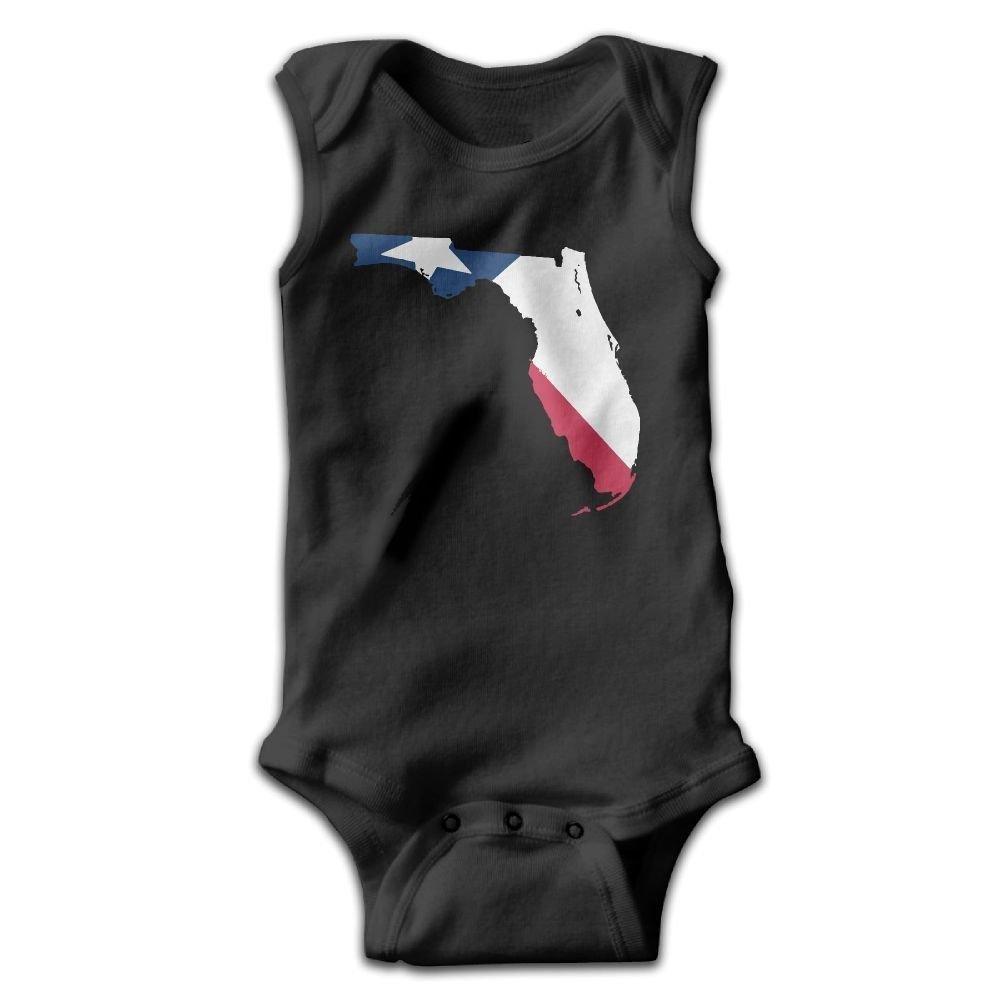 braeccesuit Texas Flag Florida Baby Newborn Crawling Clothes Sleeveless Romper Bodysuit Onesies Jumpsuit Black