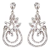 ACCESSORIESFOREVER Women Bridal Wedding Jewelry Crystal Rhinestone Elegant Dangle Earrings E951 Silver