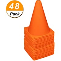 48 Pack 7 Inch Plastic Traffic Cones Field Marker Cones Sport Training Traffic Cone Sets for Skate Soccer Outdoor/Indoor…