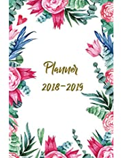 Planner 2018-2019: Two Year Planner  24 Month ( Daily Weekly And Monthly Calendar ) For Agenda Schedule Organizer Logbook and Journal Notebook (24 Month Calendar Planners)   Natural Floral water Color Cover