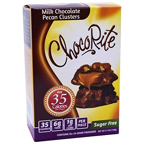 CHOCORITE CHOCOLATE VALUE PACK -6 24 GRAM BARS-SUGAR FREE-35 CALORIES PER PIECE (MILK CHOCOLATE PECAN CLUSTERS)