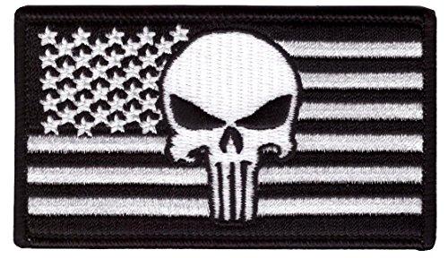 Hook Fastener Punisher US Flag Black-white Tactical Morale G
