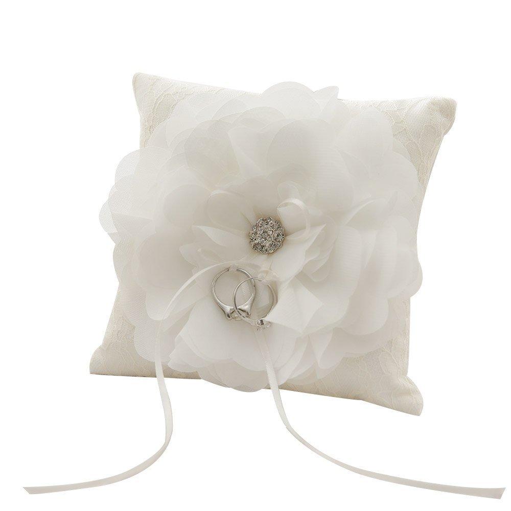 Mangadua Romantic Satin Lace Wedding Pocket Ring Bearer Pillow 5.9'' x 5.9''