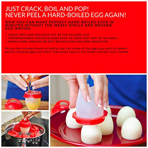 EGGY YO Silicone Hard Boiled Egg Cookers - 6 Egg Cooker Set with Holder and Timer - Egg Boiler No Shell by EGGY YO (Image #2)'
