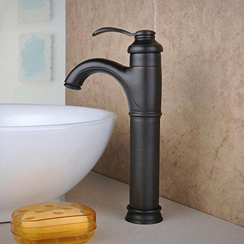 Homelava Kupfer Waschtischarmatur Schwarz Einhandmischer Retro Badezimmer Hahn,Kalt- und Warmwasser
