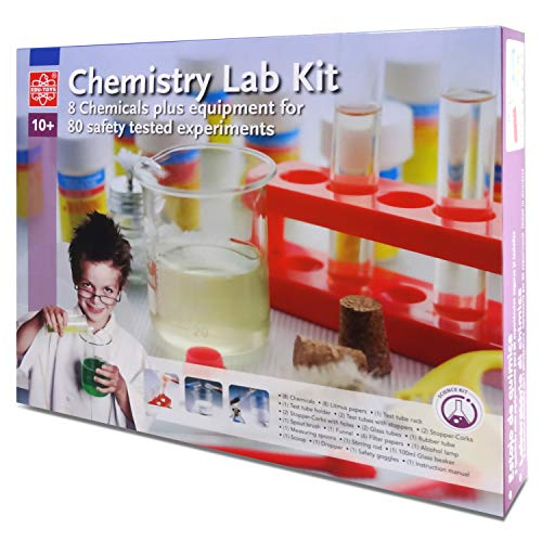 Elenco Edu-Toys Chemistry Lab | Introduction to Chemistry Principles | Includes Everything You Need | Beakers, Test Tubes, Thermometer and More | Plus Safety Goggles ()
