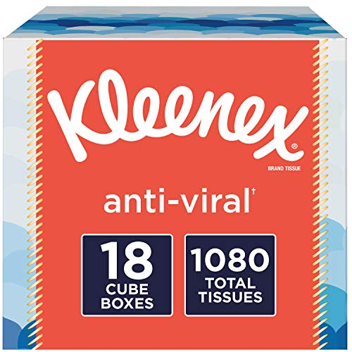 Kleenex Anti-Viral Facial Tissues, 18 Cube Boxes, 60 Tissues per Box (1,080 Tissues Total)