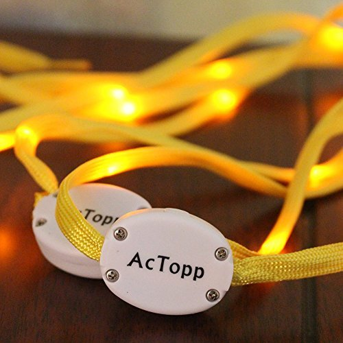 AcTopp LED Shoelaces High Visibility Soft Nylon Light Up Shoelace with 4 Modes Rainbow Colors for Night Running, Biking, Disco, Party, Cosplay, Hip-hop Dance Safety and Cool (Yellow(yellow light))