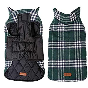 UPHAN Warm Dog Clothes Jackets for Small Medium Large Dogs Outdoor Indoor Activities- Dog Cold Weather Coats - Waterproof Windproof Reversible British Style Plaid Dog Vest Winter Coat - Green - XL