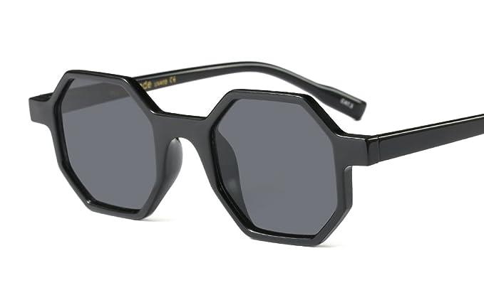 374fe44b8fe Hexagonal Sunglasses for Men Women Vintage Retro Plastic Octagon Geometric  Frame (Black