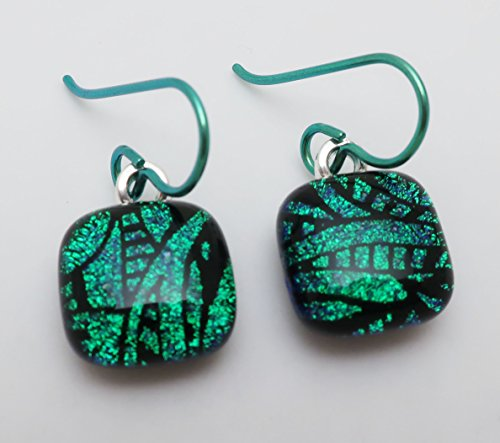 Fused bright emerald green leaf pattern dichroic glass earrings Hypo-allergenic green niobium ear wires. (Fused Jewelry Glass Dichroic)