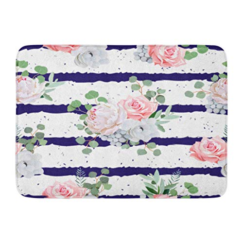 (Emvency Doormats Bath Rugs Outdoor/Indoor Door Mat Navy Striped Bouquets of Rose Peony Anemone Brunia Flowers and Eucalyptus Leaves Speckled Bathroom Decor Rug Bath Mat 16