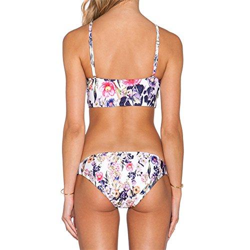Uskincare Traje de Baño Mujer Bajo la Cintura Bañador con Tirantes Tops Playa Mar Verano 2-Flores Azules