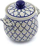Polish Pottery 7¼-inch Garlic and Onion Jar made by Ceramika Artystyczna (Garden Lattice Theme) + Certificate of Authenticity