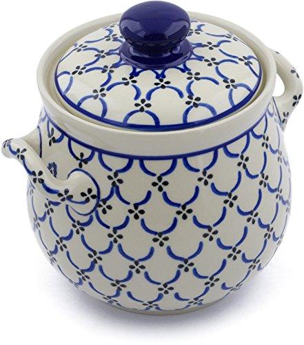 Polish Pottery 7¼-inch Garlic and Onion Jar made by Ceramika Artystyczna (Garden Lattice Theme) + Certificate of Authenticity by Polmedia Polish Pottery