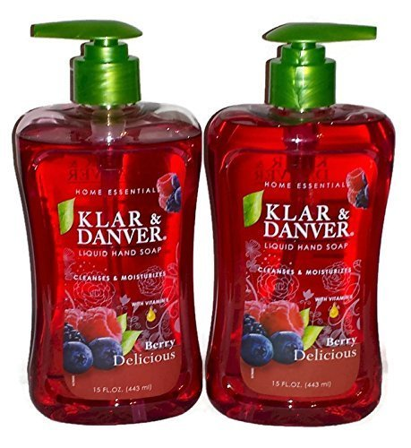 Klar and Danver Liquid Hand Soap. Two, Extra Large 15 Fl Oz Bottles. (Berry Delicious) ()