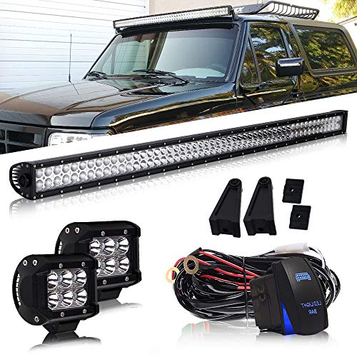 DOT 54 Inch Led Light Bar Combo Beam Offroad Driving Light Bar On Bumper Windshield Roof + 4Inch Pods Cube Fog Light + Wiring Harness Kit for Truck Jeep Hummer UTV ATV SUV Ford Dodge Ram Chevy GMC 4WD