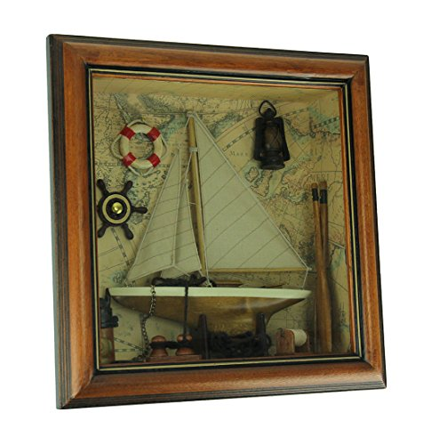 Bauer Pacific World Map Nautical Decor in Wood Shadow Box Wall Hanging