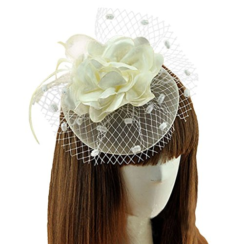 Coolwife Womens Fascinator Veil Flower Cocktail Tea Party Headwear (Beige) (1920 Hairstyles For Long Hair)