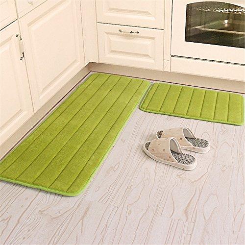 Kitchen Rugs, CAMAL 2 Pieces Non-Slip Memory Foam Stripe Kitchen Mat Rubber Backing Doormat Runner Rug Set (16