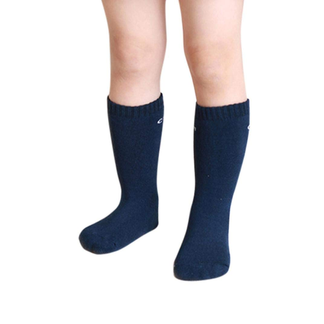 WARMSHOP 1 Pairs Baby Stripe Stocking Knit Knee High Stocking Solid Anti-Slip Warm Winter Thick Cotton Socks (Navy, 0-2 Years Old)