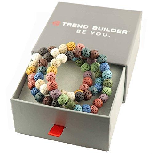 Trend Builder Inc | New Natural Lava Rock Stone Essential Oil Diffuser Tassel Bracelets for Aromatherapy | FIRST AID rescue aroma bracelet kit | Distance Friendship Mala Tibetan String Prayer Beads |