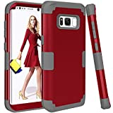 TOPBIN Samsung Galaxy S8 Case, [Ultra Slim] 3in Premium Slim Lightweight Scratch Resistant Fit Cover Hard PC+ Soft Silicone Full-Body Protective Best Case for Samsung Galaxy S8 (Red+Grey)