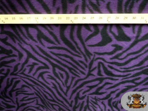 1 X Fleece Fabric Printed Animal Print *Purple Zebra* Fabric By the Yard