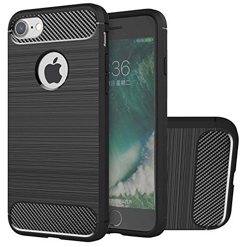 Hülle iPhone 7, HICASER Rugged Armor Case Ultraslim Flexible TPU Anti-rutsch Drop Resistance Handytasche Schutzhülle für iPhone 7 4.7-Zoll Schwarz