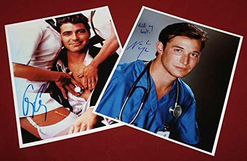 ER-NOAH-WYLE-GEORGE-CLOONEY-2-Signed-AUTOGRAPHS-Prop-RX-COA-FALLING-SKIES