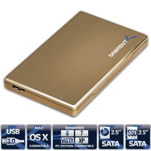 Sabrent Premium Ultra Slim 2.5-Inch SATA to USB 3.0 External Aluminum Hard Drive Enclosure Gold (EC-ALGD)