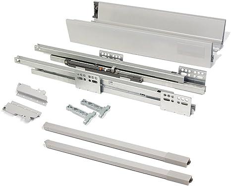 EMUCA - Kit de cajón para Cocina o baño con guias de extracción Total y Cierre Suave, Altura 141mm y Profundidad 500mm, Gris: Amazon.es: Bricolaje y herramientas