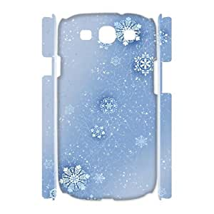 3D Samsung Galaxy S3 Case, Mens Designer Blue Snowflakes Case for Samsung Galaxy S3 {White}