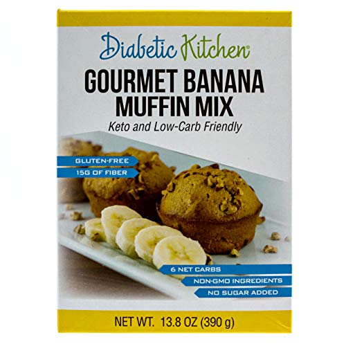 Diabetic Kitchen Muffin Mixes For Bakery Fresh Muffins That Are Low-Carb, Keto-Friendly, No Sugar Added, Gluten-Free, High-Fiber, Non-GMO, No Artificial Sweeteners (Gourmet Banana ()
