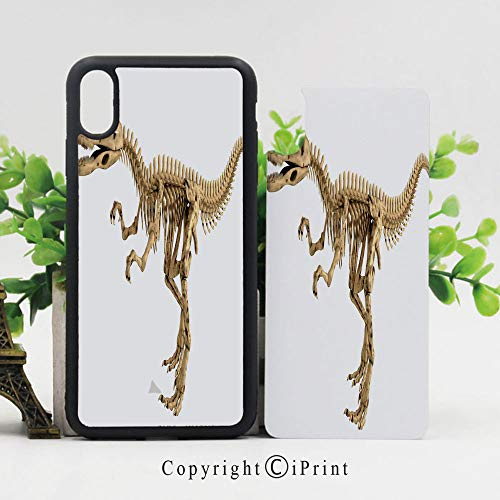 (Phone Case Protective Design Fossil Dino Skeleton Bones Realistic Image Dangerous Dead Extinct Reptile Durable Hard PC Back Phone Cover Compatible for iPhone X,Light Brown White)