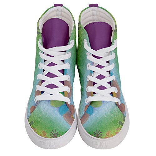 CowCow Panda & Balloons Fun Pattern Womens Hi Top Skate Sneakers Shoes Turquoise xhSwgT