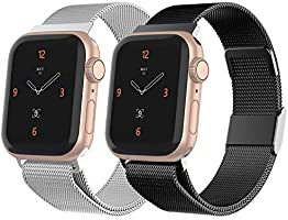 iGK Compatible with Apple Watch 38mm Band 40mm 42mm 44mm,Stainless Steel Mesh Wristbands with Adjustable Magnet Lock for...