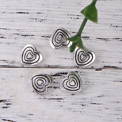 """PEPPERLONELY 50pc Antiqued Silver Alloy Beads Heart Charms Pendants 9 x9mm(3/8"""" x 3/8"""")"""